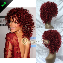 Rihanna Hairstyle Wigs Red Wine Color Pin Curl Perm Curly Wave Synthetic Hair Wig Salon Full Cap Hair Wigs Free Shipping H0355b(China (Mainland))