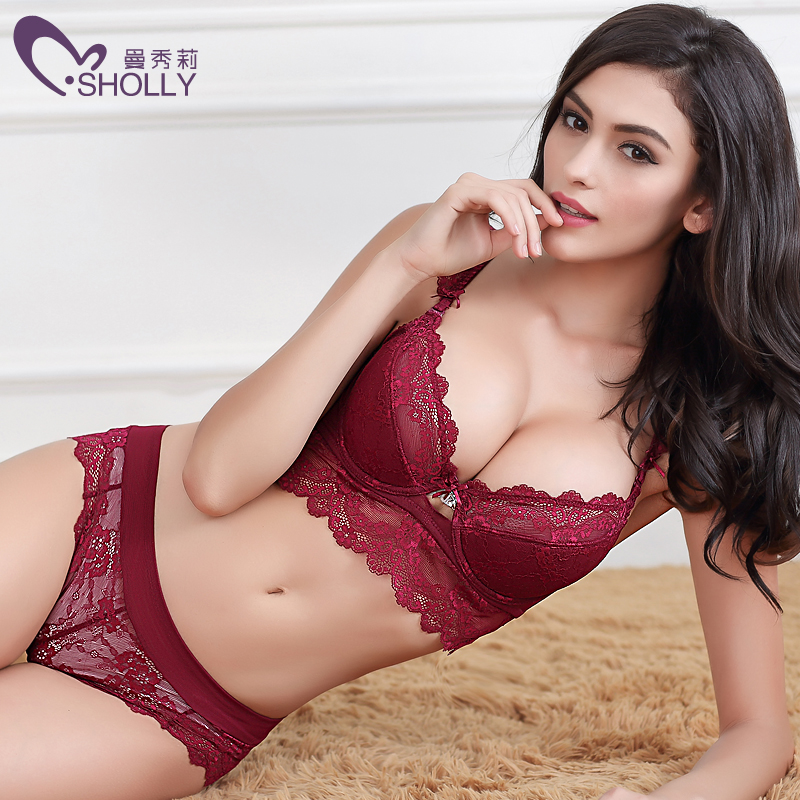 New Brand Women bra set sexy Lace Embroidery bra brief sets intimate women big cup brassiere transparent sexy underwear set