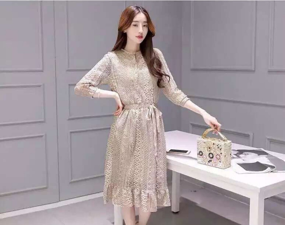 2016 new fashion brand quality lace dresses for women casual summer slim nice dress daily street style clothing size XL L M #037(China (Mainland))