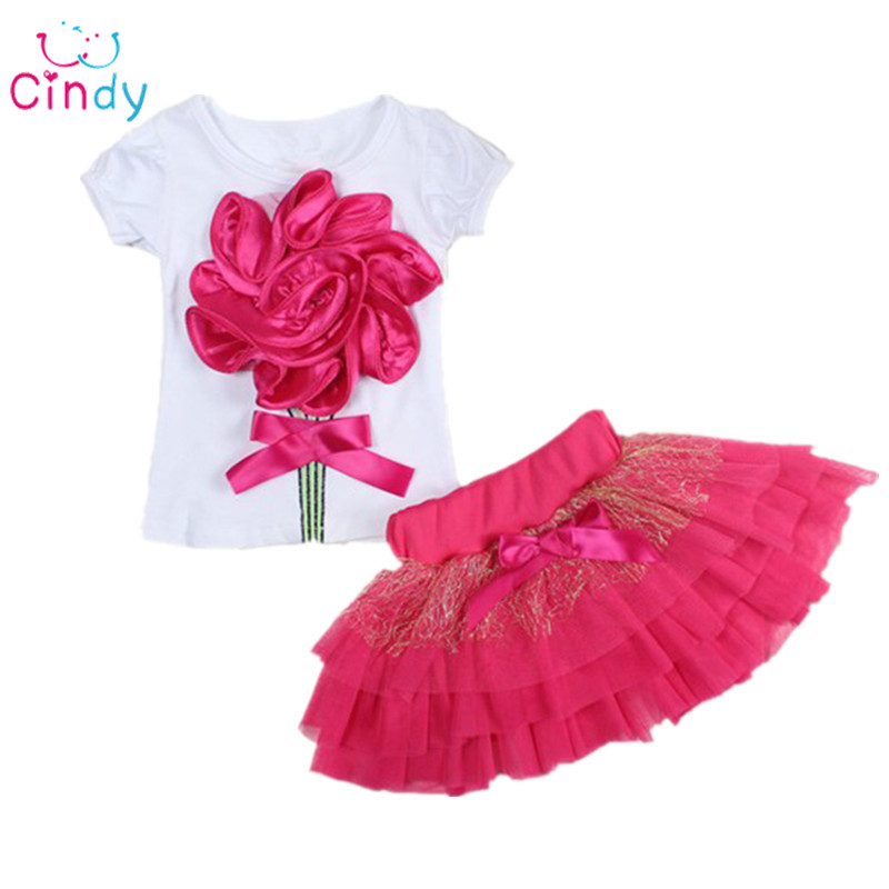 Casual clothing set 2 pieces T-shirts+short skirts with red flower outerwear and outdoor for girls 2016 new spring summer(China (Mainland))
