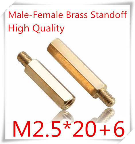 500pcs/lot M2.5*20+6  M2.5 Brass Standoff Spacer/ m2.5*10 Male-Female Brass Threaded Spacer hex spacer<br><br>Aliexpress