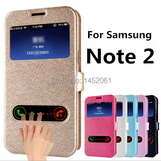 Luxury Note 2 Case For Samsung Galaxy Note2 II N7100 With Window View Designed Mobile Phone Cases Bags Flip Cover Shell Skins(China (Mainland))