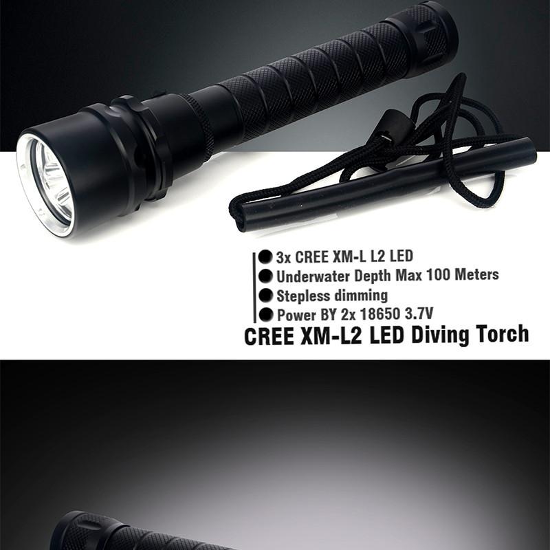 Купить Дайвинг Лампа 3 * CREE XM-L2 4000LM СВЕТОДИОДНЫЙ Фонарик Водонепроницаемый фонарик 100 м СВЕТОДИОДНЫЙ Алюминиевый, Бесплатная Доставка