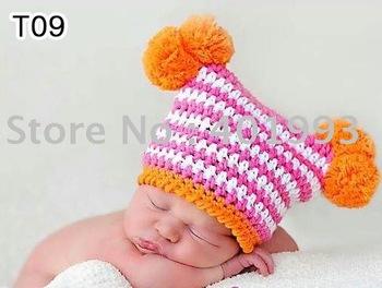 120pcs/lot 0-6Month newborn cap crochet baby hat children cotton hat Stripes Beanie with ear ANIMAL HAT crochet cap frog hat