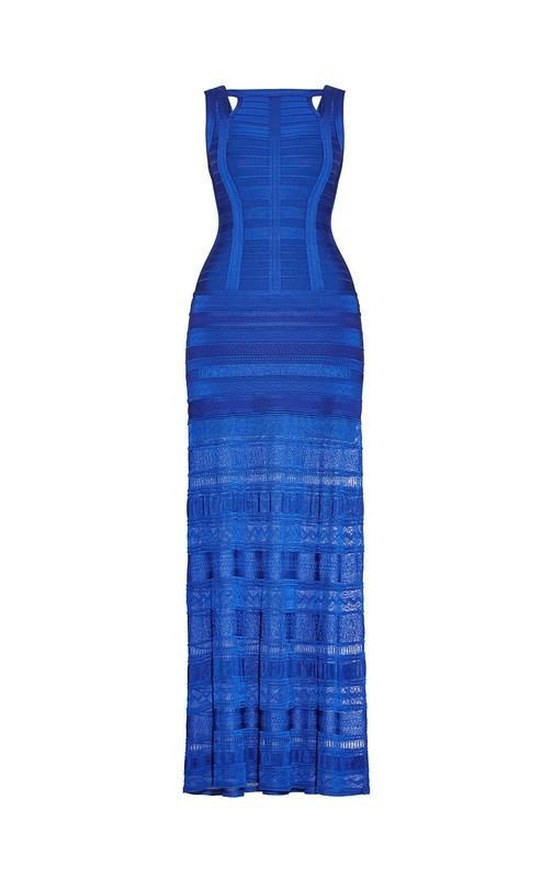 Top Quality HL Blue Pink Sleeveless Hollow Out Noble Rayon Thick Long Bandage Dress Cocktail Party Elegant Dress