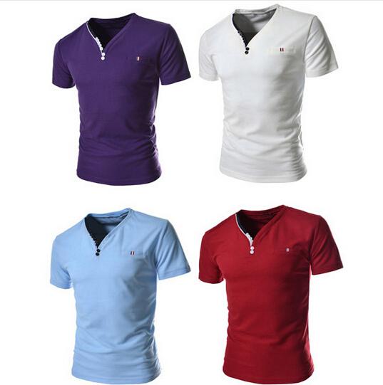 EAS 2016 New Brand PIQUE 8 color Fashion Ribbon element men T shirts Slim fit casual V neck Short sleeve homme de marque(China (Mainland))