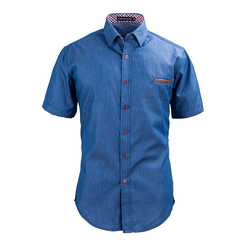 2016 brand jeans shirts men short sleeve slim fit chemise for Slim fit mens shirts casual