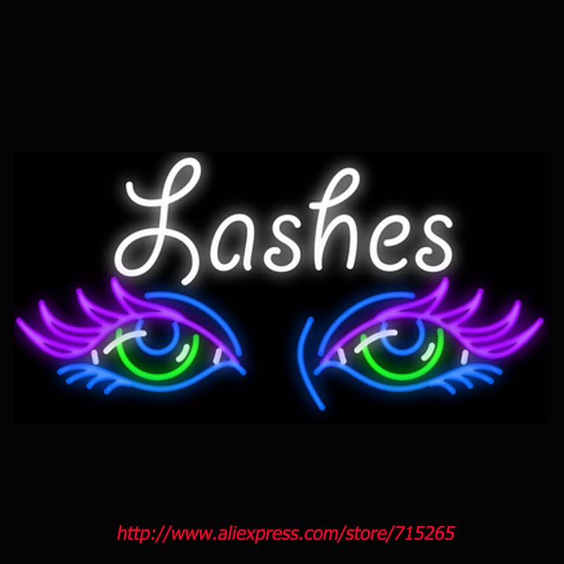 Lashes Eyes Neon Signs Board Neon Bulbs Light Real GlassTube Handcrafted Beer Bar Pub Led Signs Business Store Display 31x18(China (Mainland))