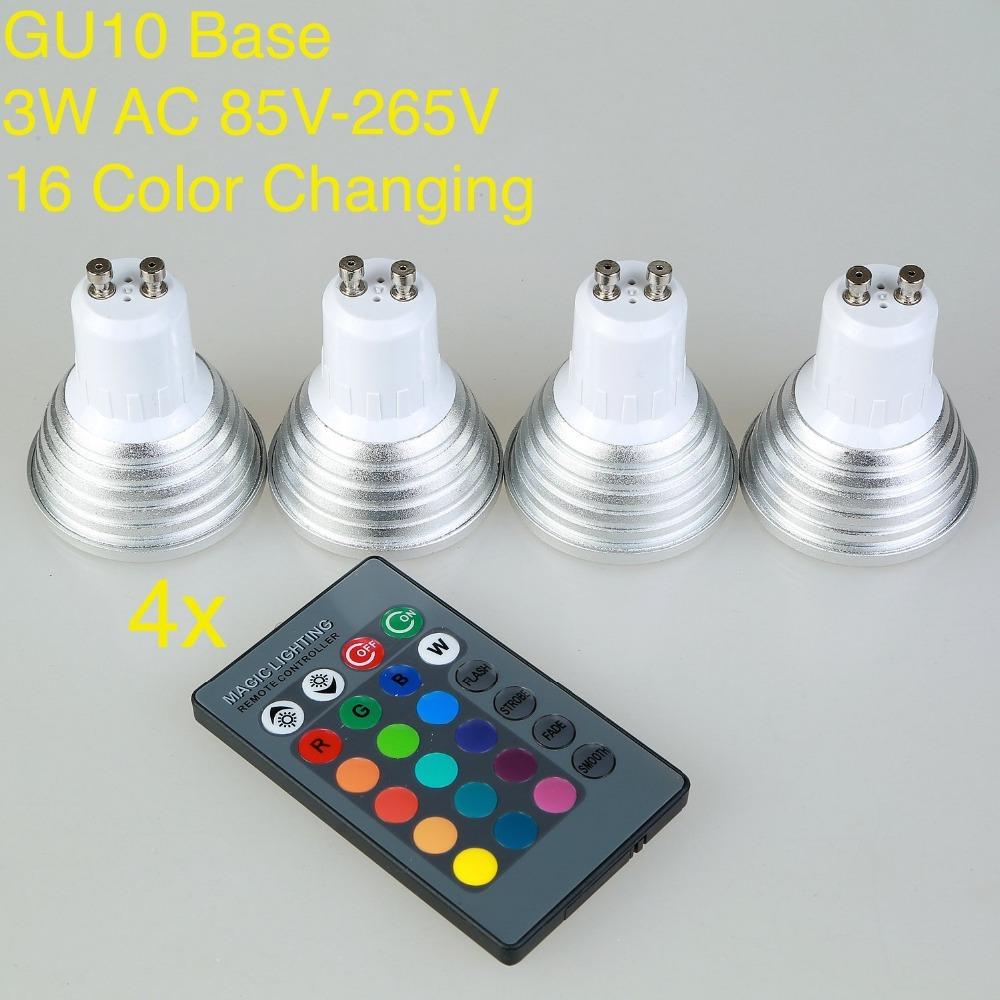 Galaxy 4x Gu10 Rgb Color Changing Led Light Bulb Lamp With