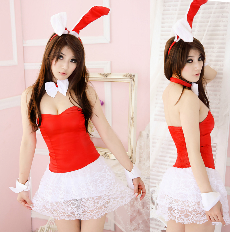 Free Shipping Hot Sale New Fashion Woman Sexy Lingerie Halloween Santa Suit Red Christmas Clothes Take a Christmas Party #C004(China (Mainland))