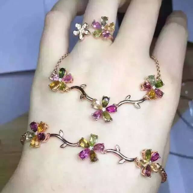 Stylish elegant Flowers 925 sterling silver multicolor natural tourmaline ring pendant natural gem stone wedding jewelry set<br><br>Aliexpress