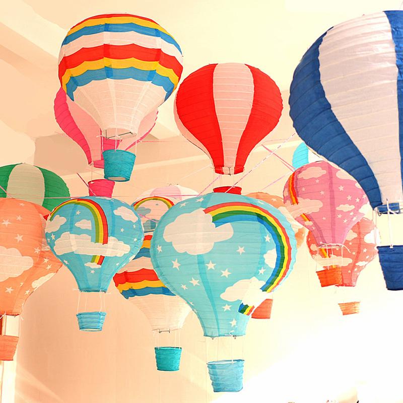 35*29cm Hot Air Balloon Shape Paper Lantern Sky and Rainbow Style for Christmas Birthday Wedding Festival Decoration(China (Mainland))