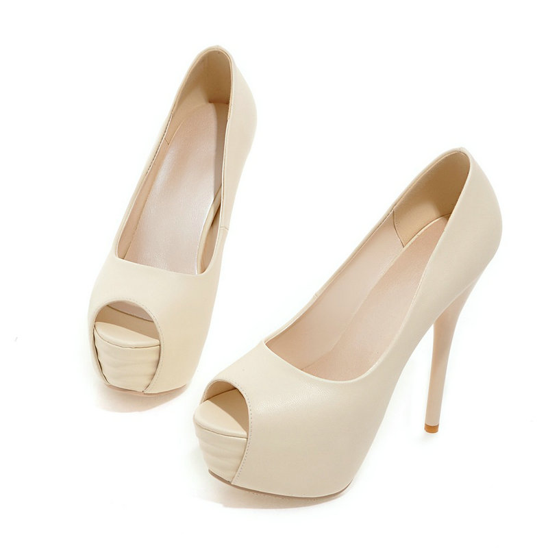 Ultra-high-heeled Platform Shoes Female 2016 Fashion Sexy Peep Toe Party Evening Shoes Thin Heels Woman