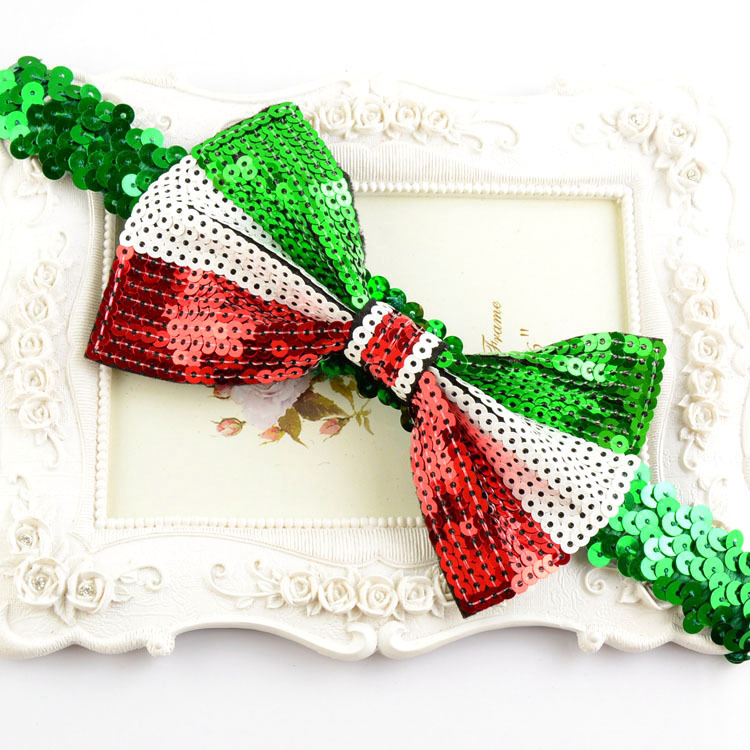 baby bow Headband infant Christmas gift DIY handmade sequin bow hairbands girl party hair accessories 12pcs/lot(China (Mainland))