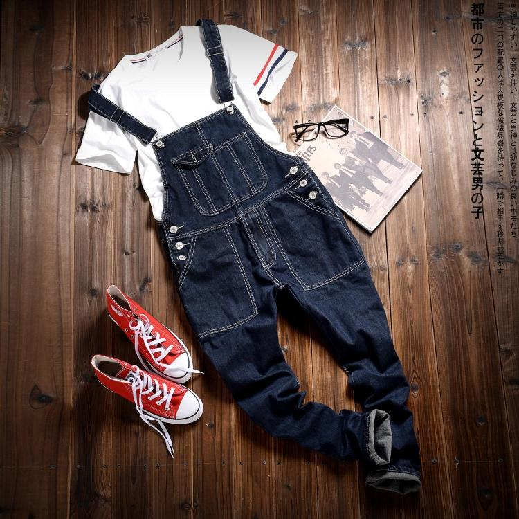 Black Denim Overalls Men Bib Jeans Spaghetti Strap One Piece Jean Jumpsuits For Adult Mens Cotton Suspender Pants(China (Mainland))