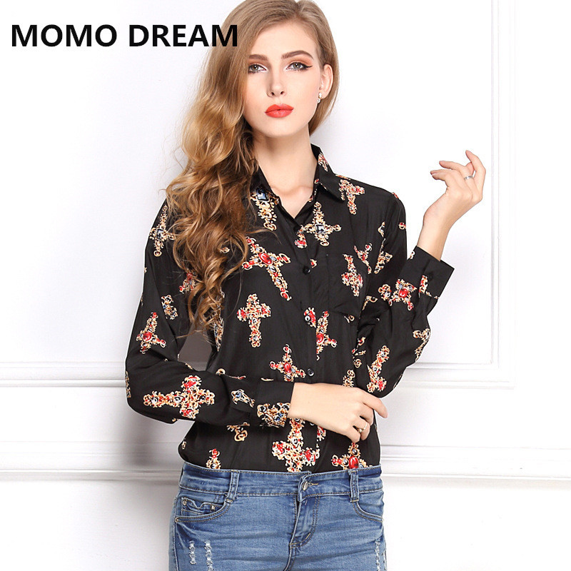 and the United States women's summer loose size retro Lapel long sleeved shirt printing chiffon shirt cross bedding(China (Mainland))