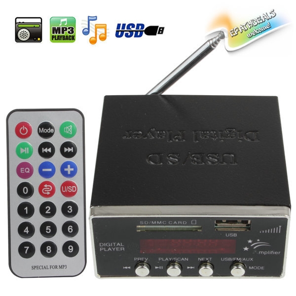 12V Digital Auto Car Power Amplifier & Audio MP3 Player with FM Radio 4-Electronic Keypad Support USB SD MMC Card + Remote(China (Mainland))