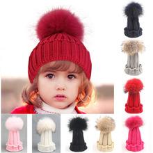 Children Winter Raccoon Fox Fur Hat For Girls Boys 100% Real Fur pompoms Ball Baby Beanies Cap Crochet Kids Knitted Hats CBLH084(China (Mainland))