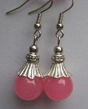 wholesale --------Fine Tibet Tribal 12mm Pink Jade Gems beads Earring(China (Mainland))