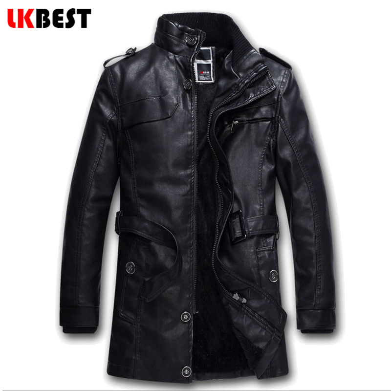 LKBEST 2017 long pilot leather jacket BLACK thick mens leather jackets and coats winter warm wool liner PU biker jacket (PY12)(China (Mainland))