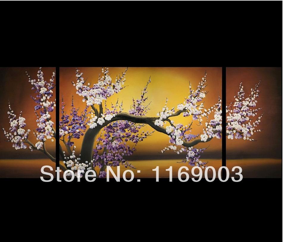 3 Piece Purple Cherry Blossom Muti Panel Abstract Modern