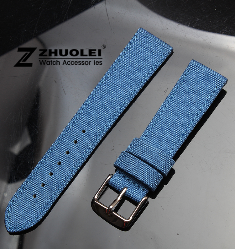 Watch band 20mm Bule Nylon Canvas Durable Sport Padded Watch Strap comfortable Leather Lining Free Shipping<br><br>Aliexpress