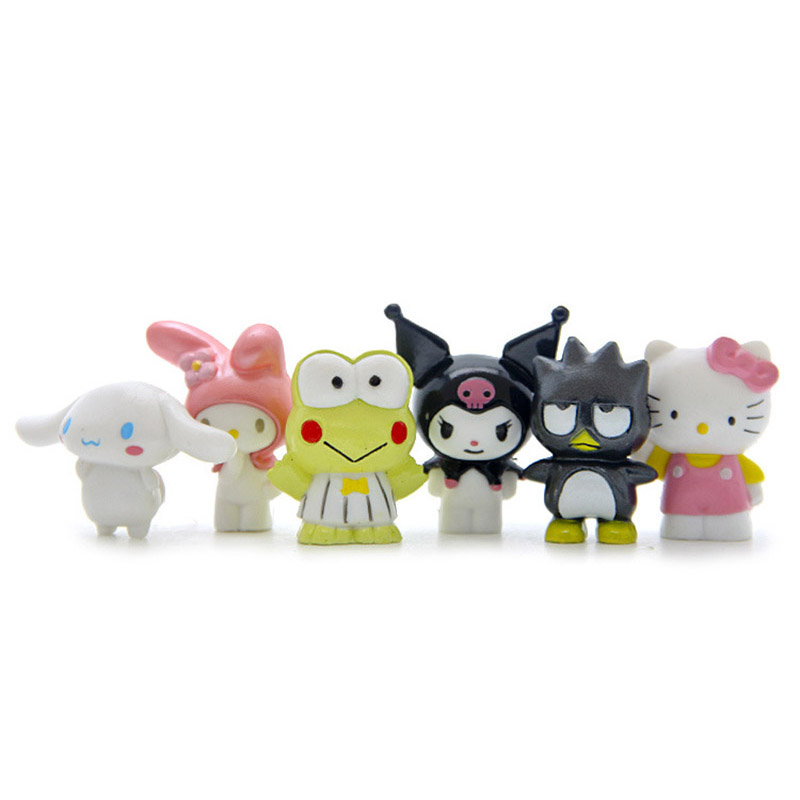 6pcs/lot New Hello Kitty toys dolls KT Action Figures Toys Model Lovely Anime Plastic PVC Toy Gifts For Kids(China (Mainland))