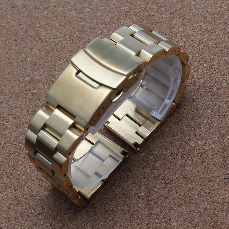 Promotions18mm 20 мм 22 мм 24 мм Новый ремешки браслеты Женская мода Мужская Нержавеющей Стали золото Металл Смотреть Band безопасности пряжка