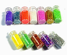 1 set 12 Color Nail Glitter Powder Dust 3D Nail Art Decoration Nail Art Bottle Tip Set # FM031