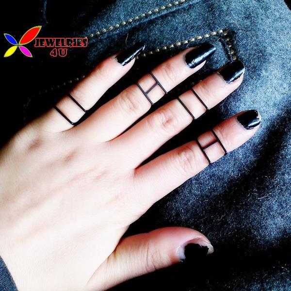 2015 new fashion punk hot gold silver black designer copper metal square geo midi finger rings women anillos de mujeres - Jewelries4U **Min. order is $10** store