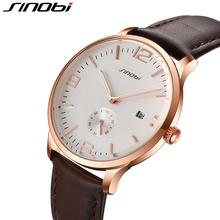 SINOBI Business Office Gold Mens Watches Top Brand Luxury Seconds Display 2016 Watch Men 30 Meters Water Resistant Reloj Hombre