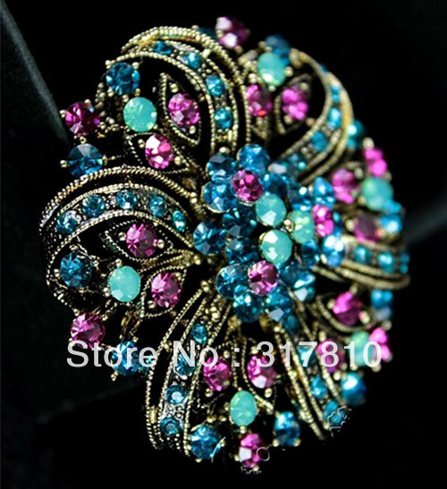 2 Bronze Plated Vintage Large Floral Crystal Rhinestone Diamante Brooch<br><br>Aliexpress