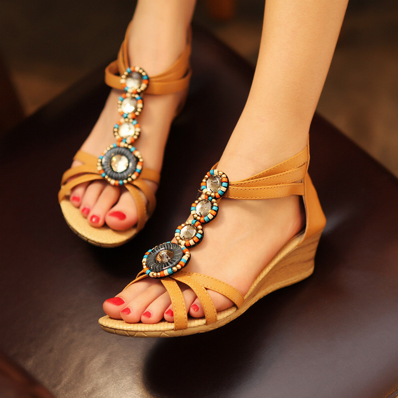 Popular Bohemia Style Beaded Open Toe Summer Sandals Fashion Cover Heel Zipper Women Shoes Casual Little Wedges Sandals(China (Mainland))