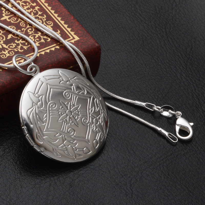 Sterling Silver Necklace Vintage Flower Pattern Carved Round Photo Locket Pendants Necklace High Quality(China (Mainland))