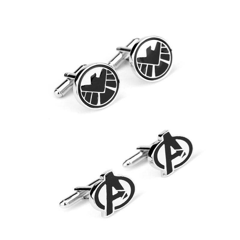 Hot Sale Movie Jewelry Avengers Age of Ultron Black Movie Logo Zinc Alloy Cufflink For font
