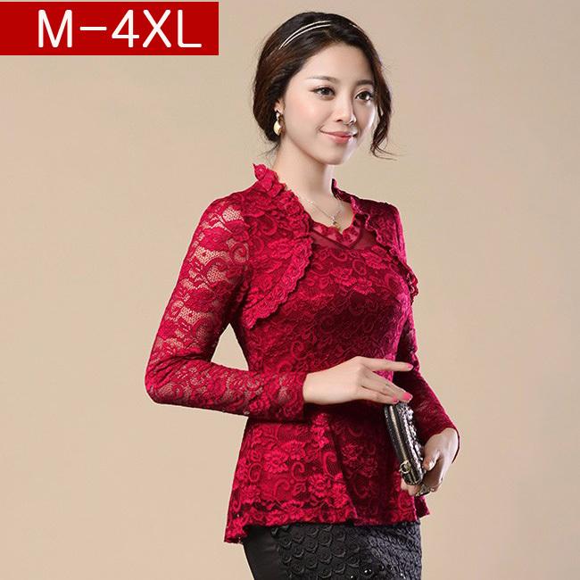 Free shipping 2015 Spring New Woman lace shirt Hollow Fashion Casual Long-sleeved chiffon blouse Shirt Plus size women Tops(China (Mainland))