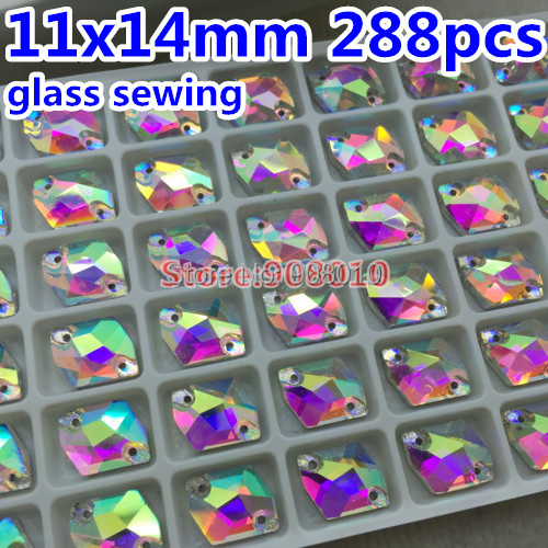 288pcs/box 11x14mm Cosmic shape Sew on crystal Rhinestones Clear AB color ,14x11mm Sewing Glass Crystals for Dress Making(China (Mainland))