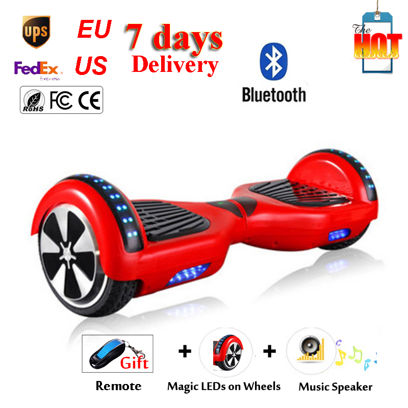 6.5 inch Speedway Bluetooth Self Balance Electric Standing Hoverboard Scooter Remote Key LED Light on Two Wheel Smart Skateboard(China (Mainland))