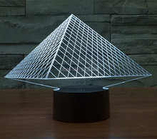 Free Shipping 1Piece acrylic colorful changeable Pyramid stereoscopic 3D LED lamp of led Night lighting With USB Cable