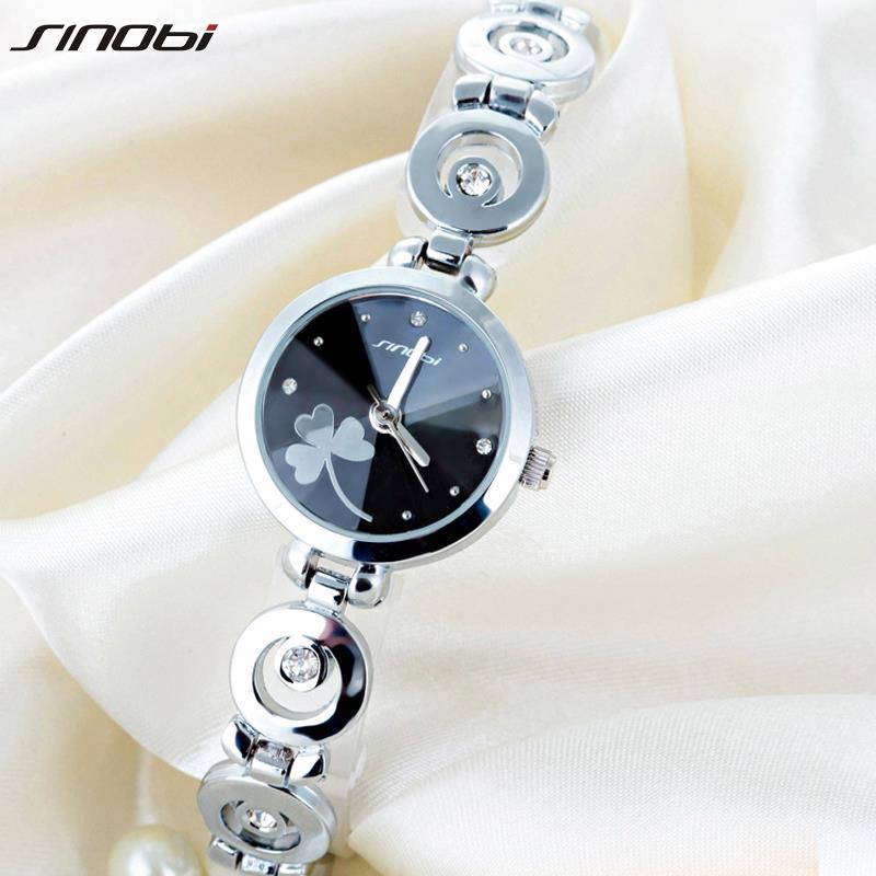 New Original SINOBI Brand Women's Watch Fine Steel Strap Ladies Luxury Bracelet Watches with Clover Dial(China (Mainland))