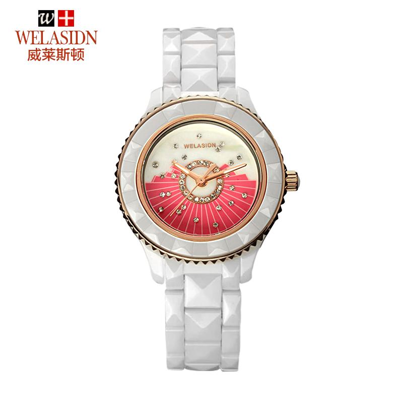 Free Ship,WELASIDN female Korean fashion white diamond watch ceramic female table waterproof quartz watch pink face(China (Mainland))