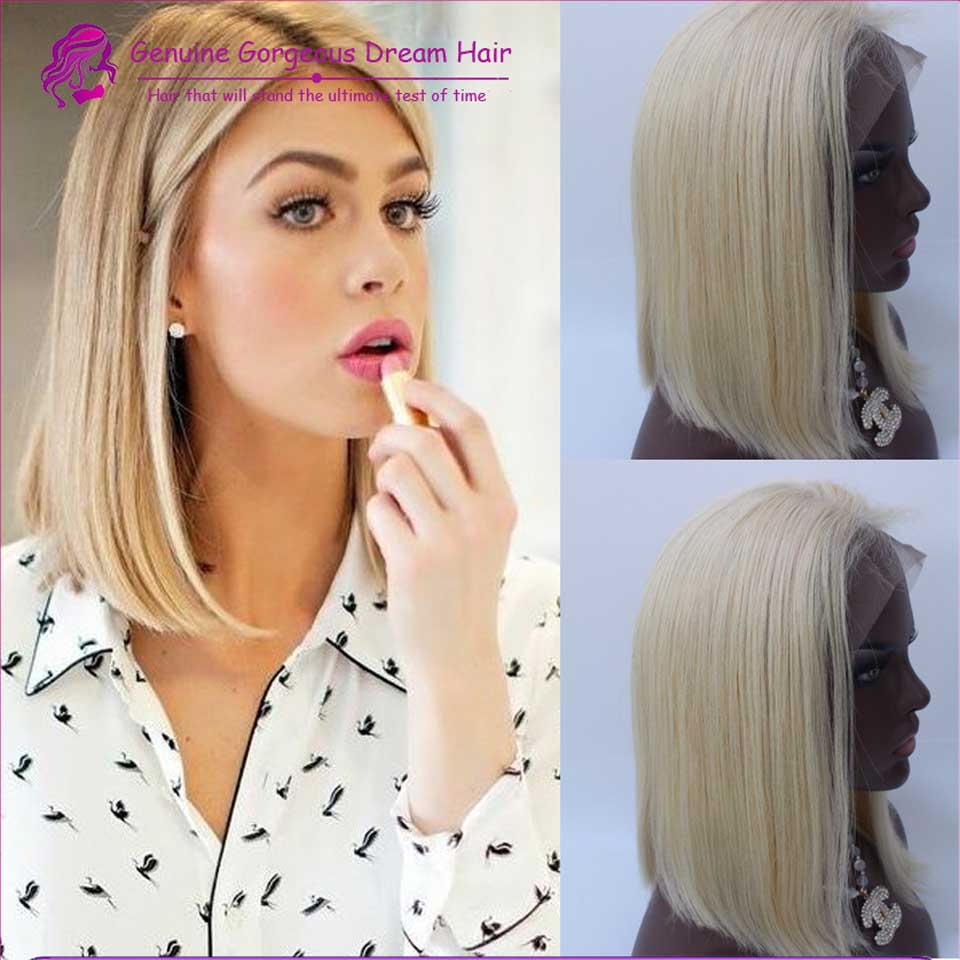 7A Blonde Human Hair full lace Wigs indian Hair Straight Blonde Human Hair Lace Front Bob Wigs With baby hair Bleached Knots<br><br>Aliexpress