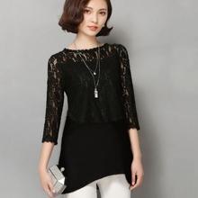 Elegant Solid Maternity Nursing Clothes Pregnant Women Spring Lace Stitching Postpartum Breastfeeding T Shirts Plus Size M~2XL(China (Mainland))