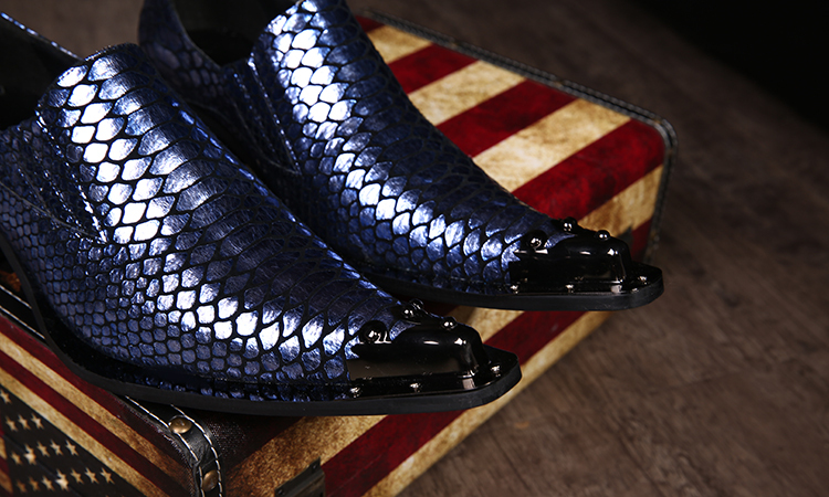 Custom Made Dark Blue Men Business Shoes Hombre Metal Pointed Toe Slip On Cow Muscle Genuine Leather Dress Wedding Shoes Snake<br><br>Aliexpress