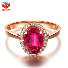 Elegant Trendy 18K Rose Gold Plated Jewelry Ring High Quality Red Cubic Zirconia Diamond Ruby Wedding Rings for Women Gift ZR025