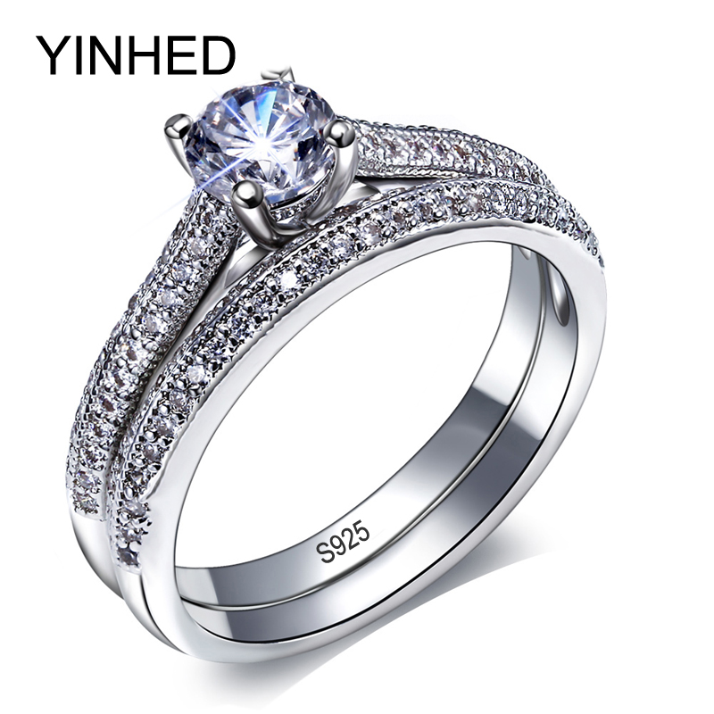 YINHED 2016 Bridal Wedding Ring Set Solid 925 Silver Ring Woman Fashion Finger Vintage Jewelry Rings 6*6mm CZ Diamond Ring ZR148(China (Mainland))