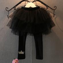 Cute baby girl pants 2-7years,kids skirt legging size 90-130,Children tutu flower skirt black colors crown printed leggings(China (Mainland))