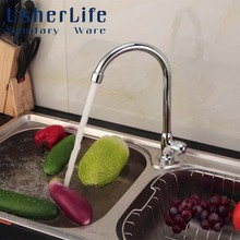 Buy Usherlife Classic Single Cold Kitchen Faucet Deck Mounted Sink Crane Water Tap Brass Wash Basin Faucets torneira cozinha for $14.00 in AliExpress store