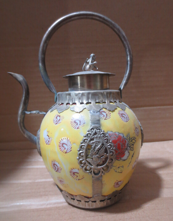 Metal Crafts Antique antiques Tibet silver yellow ceramic pot,paintting flowers teapot Free Shipping(China (Mainland))