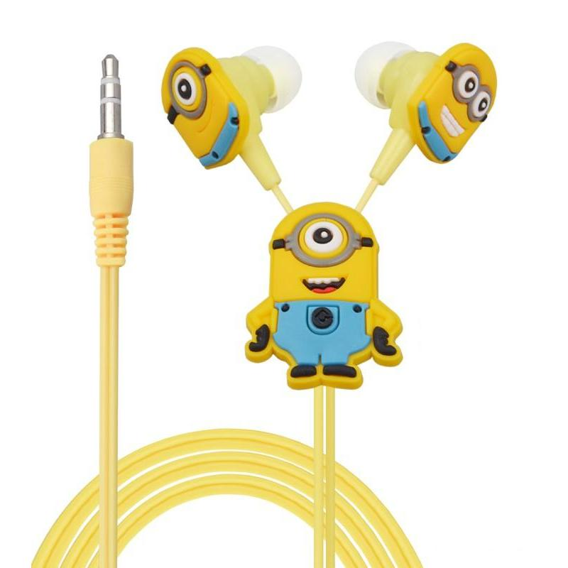 Despicable Me Minions Cartoon Earphone In-ear Wired 3.5 mm Headphone Headset for MP3 MP4 Mobile Phone With Earplug Cover EP-338(China (Mainland))